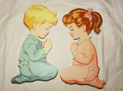 Lot/Set of 2 Vintage 60s Nursery Children's Wall Art Boy Girl Praying 12in.