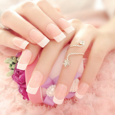 24Pcs Voguish French Long False Nails With Glue Bride Party Fake Full Nail Tips