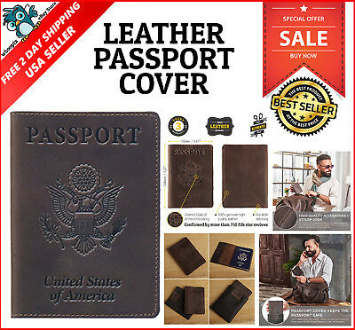 New Classic Leather Cover Holder Organizer Case for Personal Travel Passport