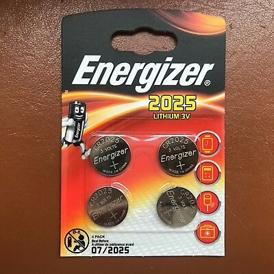 4 x Energizer CR2025 3V Lithium Coin Cell Battery 2025 DL2025 BR2025 Batteries