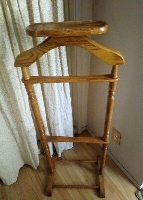 Vintage Men's Suit Valet Wooden Butler Stand W/ Tray For Jewelry OBO