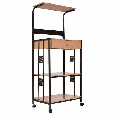 59 Bakers Rack Microwave Stand Rolling Kitchen Storage Cart W Electric Outlet