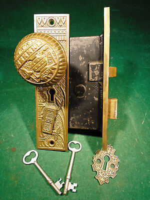 NASHUA EASTLAKE TWO KEY ENTRY MORTISE LOCK w/BROKEN LEAF KNOBS & PLATES (9297)