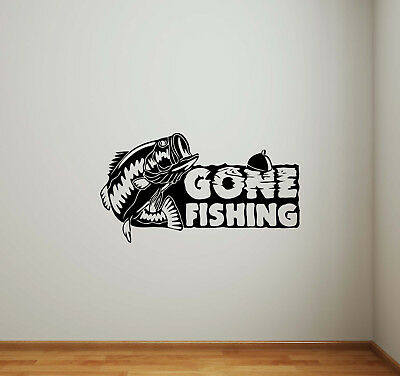 Gone Fishing Wall Decal Vinyl Sticker Fisherman Gift Decor Nautical Poster 744