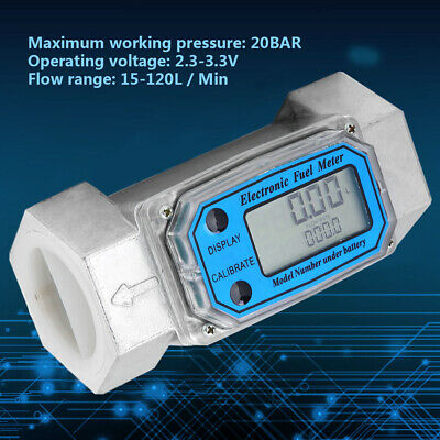 "15-120L Turbine 1.5"" Digital Flow Meter Gasoline Water Liquid Fuel Metering Tool"