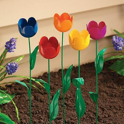 Tulip Garden Stake Metal Flower Yard Art Outdoor Planter Lawn Decor Set of 5 NEW