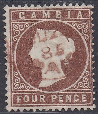 Gambia 1880 Qv Cameo 4D Wmk Crown Cc Upright Used