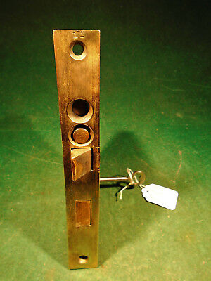 "VINTAGE PENN PUSH BUTTON BRASS ENTRY MORTISE LOCK w/KEY 7"" FACEPLATE (9980)"