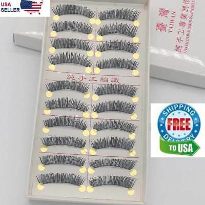 10 Pairs False Eyelashes Natural Long Eye Lashes Handmade Thick Black Makeup Set