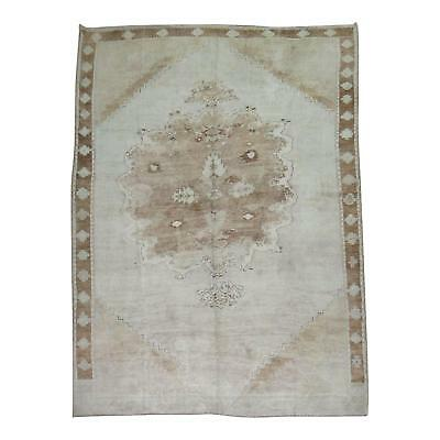 Charming Vintage White & Brown Turkish Oushak Rug, 9'1'' x 13'8''