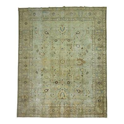 Delightful Mint Green Persian Tabriz Rug - 9'5'' X 12'9''
