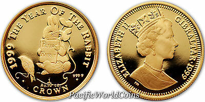 Gibraltar 1999 Peter Rabbit 1/10 oz Proof Gold