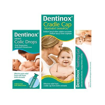 Dentinox | Cradle Cap Shampoo, Teething Gel & Colic Drops - Multibuy
