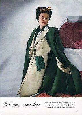 BERGDORF GOODMAN Fashion Ad Page in Color 1941 Sand Color Suit Green Coat