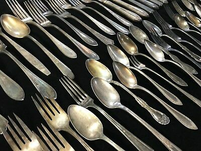 Large 65-Piece Lot of Vintage & Antique Silverplate Silverware -- Read!! (RF749)
