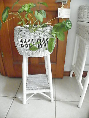 Antique Vintage Round White Wicker 2 Tier Garden Chic Plant Stand - EUC