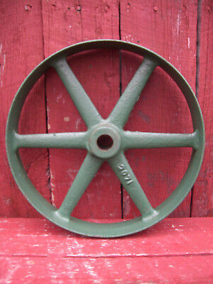 Vintage Green Cast Iron Metal Pulley Gear Wheel Industrial Steampunk Farm