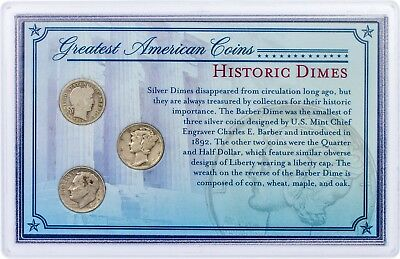 Historic Dimes Greatest American Coins Varied Date US Currency Mint 10c Cents