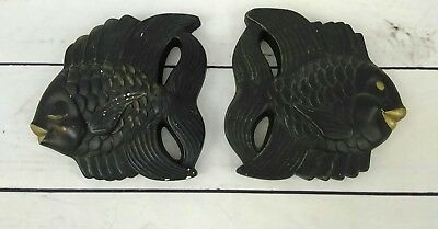 Vintage 1954 Miller Studio Black and Gold Fish Chalkware Plaques Wall Decor