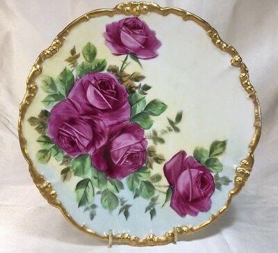"JPL Limoges 8.625"" Hand Painted PLATE With LARGE PINK ROSES & Heavy Gold Rim"