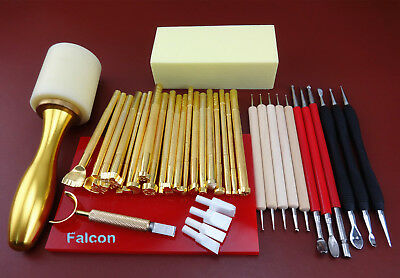 35PC LEATHER CRAFT CARVING STAMPING PUNCH STYLUS TOOL Hammer Swivel Cutter Plate