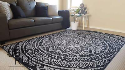 Floor Rug Black Grey Mandala Tribal Rug Boho Modern Carpet