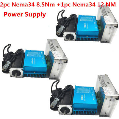 3Axis Nema34 2pc8.5Nm 1pc12Nm DSP Closed Loop Stepper Drive Motor+cnc controller
