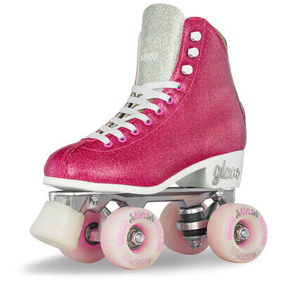 Girls Ladies Roller Skate PINK Glitter GLAM Kids Boot Quad by Crazy Skates Size