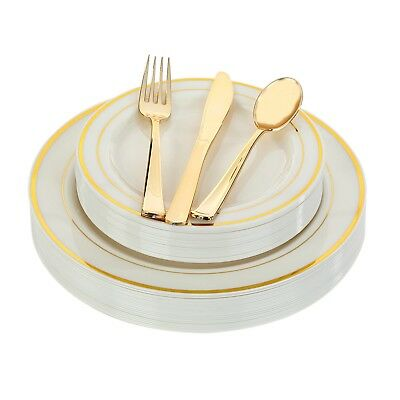 Disposable Plastic Plates Gold Silver White Wedding Occasion Party Dinnerware