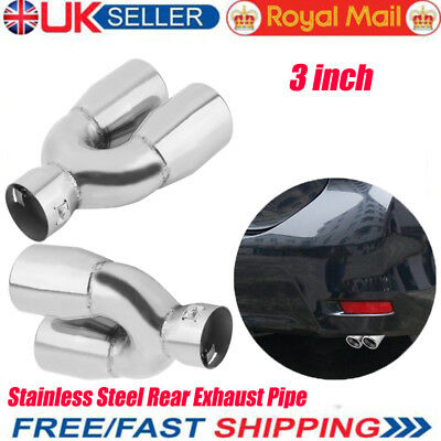 Twin Rear Exhaust Pipe Stainless Steel 3 Inch Round Chrome Car Automobile NEW FM