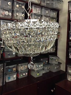 VINTAGE STYLE NEW FLUSH CHANDELIER CRYSTAL FRENCH BASKET MOUNT 30cms Wide