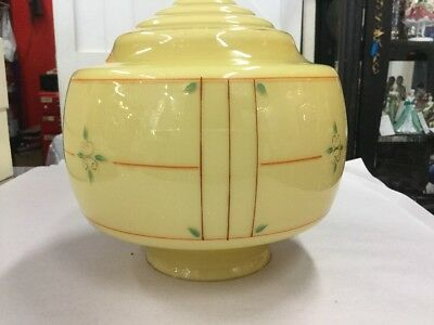 Original Art Deco Shade Glass Retro Lamp Light Diana Cream Painted Beehive Step