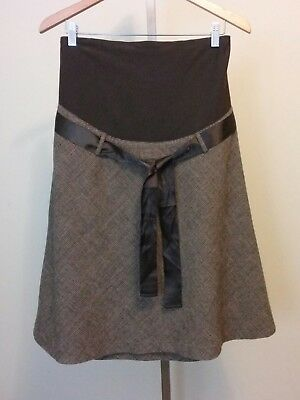 H&M Mama Maternity Brown Wool Blend A Line Lined Skirt Size Medium
