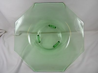 Vaseline Green Clear Depression Glass Octogonal RARE 3 LEGGED BASE Bowl Plate