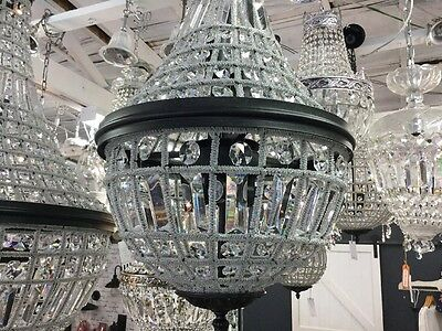 SMALL 6L VINTAGE FRENCH BASKET BEADED DOME CHANDELIER HALLWAY LIGHT EMPIRE No.93