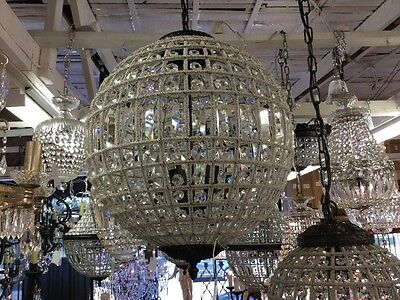LARGE ROUND VINTAGE FRENCH BASKET BEADED DOME CHANDELIER LIGHT EMPIRE No.97