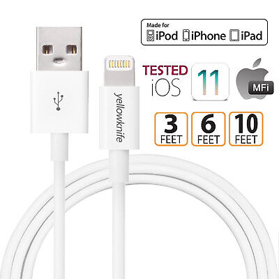Genuine MFI Lightning Cable, Apple Charger for Apple iPhones & iPads (3/6/10ft)
