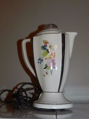 Vtg Antique Porcelier Coffee Maker Tea Pot Ceramic Floral Perculator W/ Cord