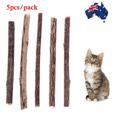 5pcs Pet Cat Chew Sticks Toys Natural Catnip Cleaning Teeth Dental Healthy Toy
