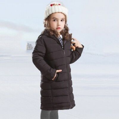 US 3-14T Toddler Child Girls Winter Warm Jacket Padded Long Thick Coat Plus Size