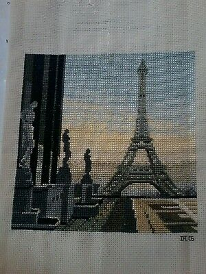 Eiffel Tower Finished Cross Stitch Picture Eiffel Tower Paris New in Bag  10x10""