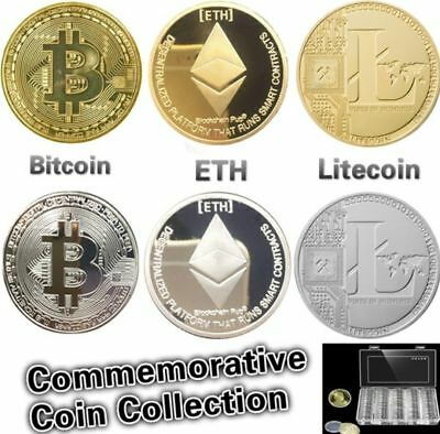 6PCS Silver&Gold Plated Hot Bitcoin/Litecoin/Ethereum Collectible Coins Gift