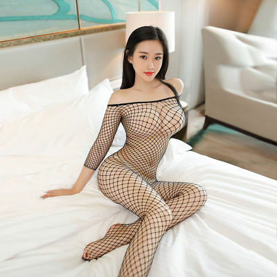 Sexy Lingerie Nightwear Women Open Crotch Fishnet Body Stocking Bodysuit Black