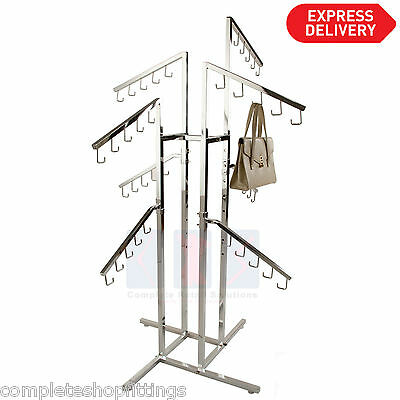 New Professional Chrome Handbag Purse Display Rack With 8 Waterfall Strong Arms