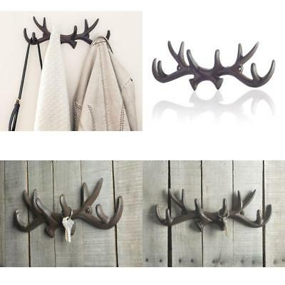 Vintage Cast Iron Deer Antlers Wall Hooks By Comfify | Antique Finish Metal Clot
