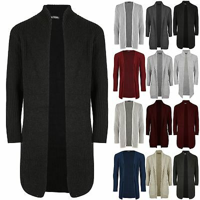 Mens Casual Shawl Open Front Warm Winter Longline Ribbed Knitted Cardigan Top