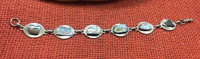 Vintage Bracelet Abalone Shell Nugget Gold Plated Panels