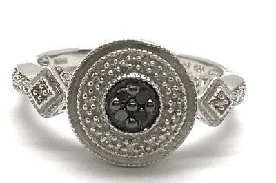 Sterling Silver Antique Style Black - Clear Diamond Round Elegant Cocktail Ring
