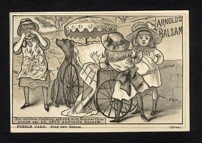 PUZZLE CARD Dr Seth Arnold's Balsam Medical Cure Trade Card 1880's