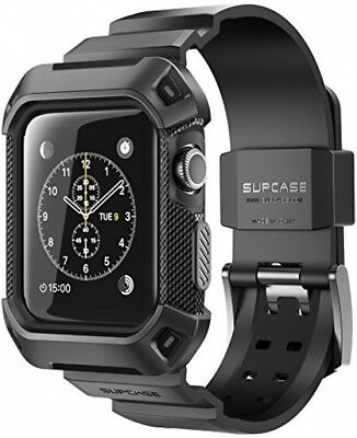 For 38mm Apple Watch Case Rugged Cover Protective Bumper With Strap Bands Black